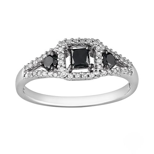 Sterling Silver 1/2-ct. T.W. Black and White Princess-Cut Diamond Frame Ring