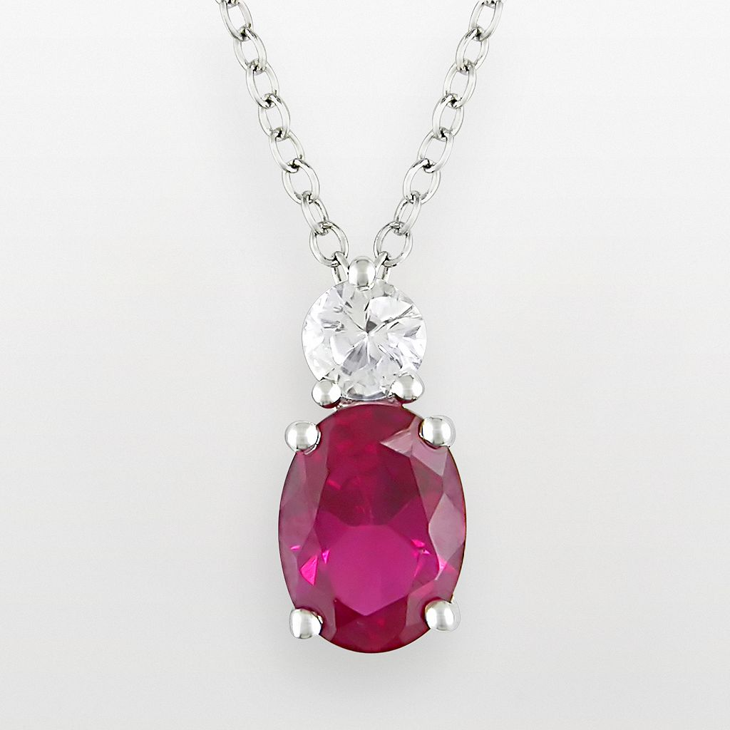 Sterling Silver Lab-Created Ruby & Lab-Created White Sapphire Pendant