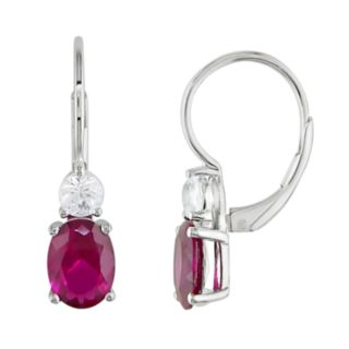 Stella Grace Sterling Silver Lab-Created Ruby and Lab-Created White Sapphire Drop Earrings
