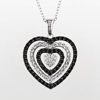 Sterling Silver Black Spinel, White Topaz & Diamond Accent Heart Pendant