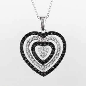 Stella Grace Sterling Silver Black Spinel, White Topaz and Diamond Accent Heart Pendant