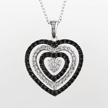 Sterling Silver Black Spinel, White Topaz & Diamond Accent Heart Pendant