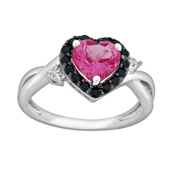 Sterling Silver Lab-Created Pink Sapphire, Black Spinel & Diamond Accent Heart Ring