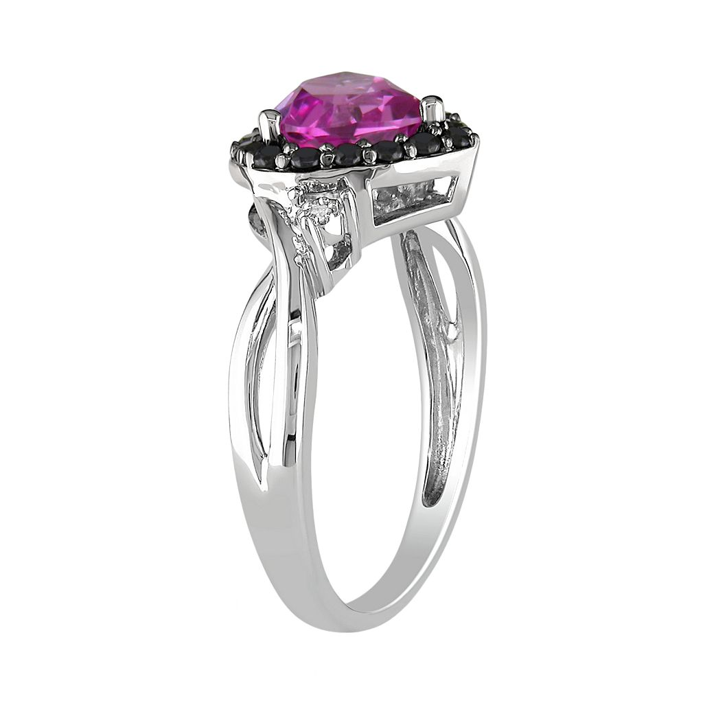 Sterling Silver Lab-Created Pink Sapphire, Black Spinel and Diamond Accent Heart Ring