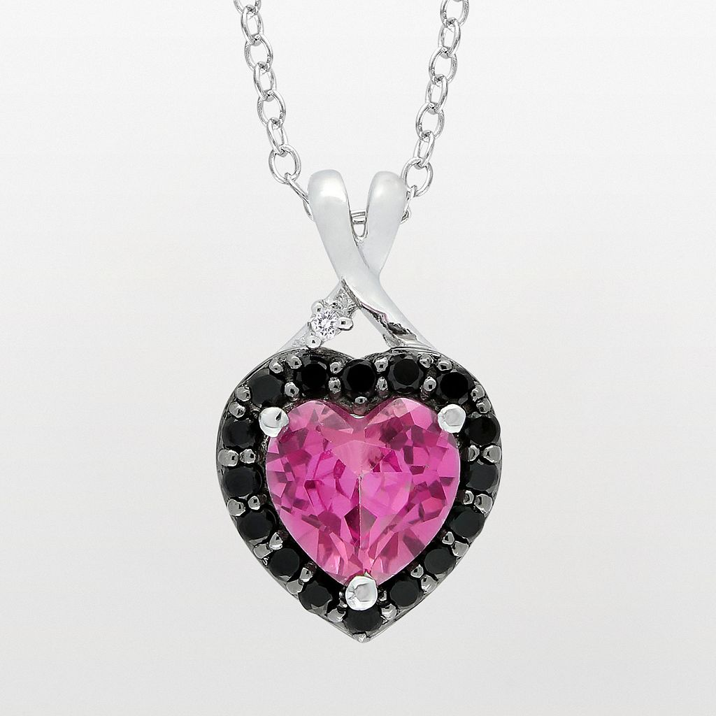 Sterling Silver Lab-Created Pink Sapphire, Black Spinel & Diamond Accent Heart Pendant