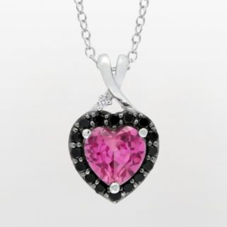 Sterling Silver Lab-Created Pink Sapphire, Black Spinel and Diamond Accent Heart Pendant