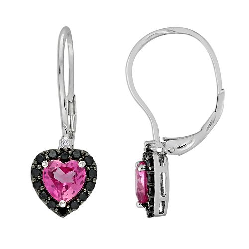 Sterling Silver Lab-Created Pink Sapphire, Black Spinel & Diamond Accent Heart Drop Earrings