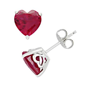 Sterling Silver Lab-Created Ruby Heart Stud Earrings