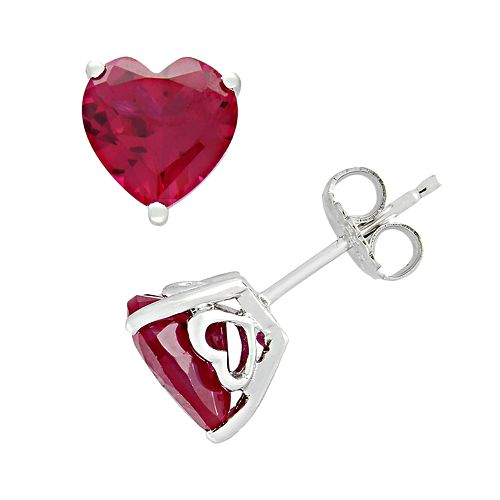 Stella Grace Sterling Silver Lab-Created Ruby Heart Stud Earrings
