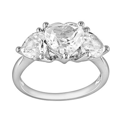 Sterling Silver Lab-Created White Sapphire Heart 3-Stone Ring