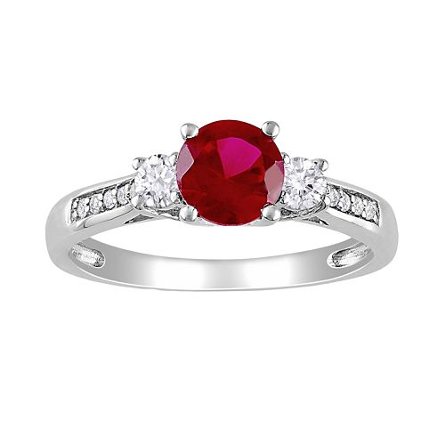 Stella Grace 10k White Gold Lab-Created Ruby, Lab-Created White Sapphire and Diamond Accent Ring