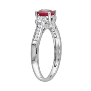 10k White Gold Lab-Created Ruby, Lab-Created White Sapphire and Diamond Accent Ring