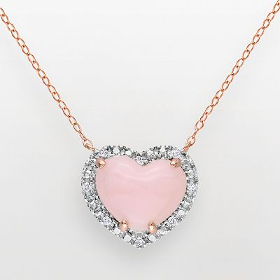 Pink Rhodium-Plated Sterling Silver Pink Opal and Diamond Accent Heart Pendant