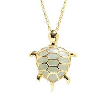 18k gold over silver jade turtle pendant mozeypictures Images