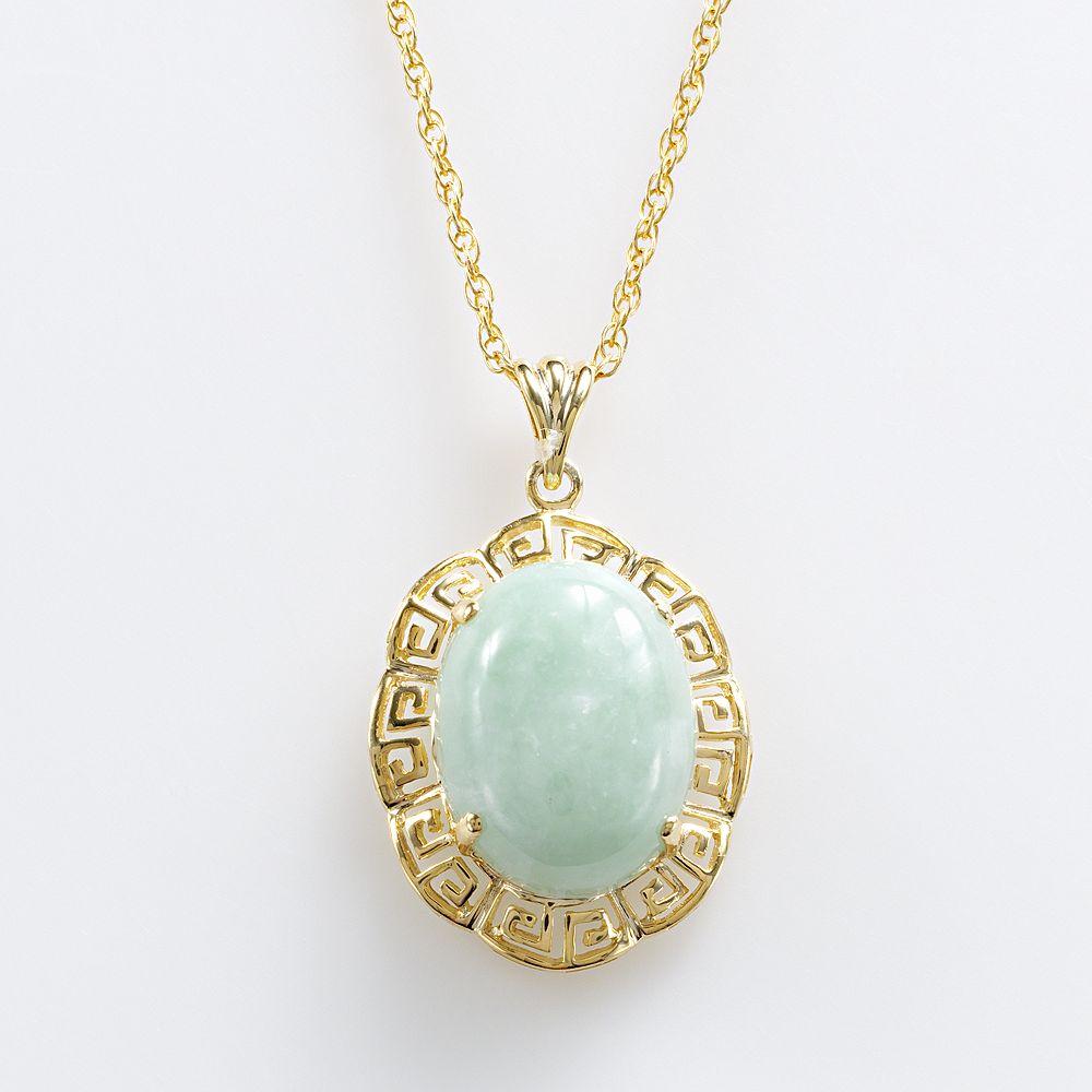 18k Gold Over Silver Jade Greek Key Oval Pendant