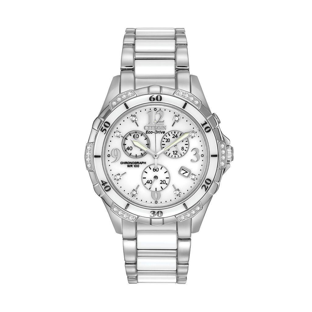 Citizen Eco-Drive Women's Diamond Stainless Steel & Ceramic Chronograph Watch - FB1230-50A