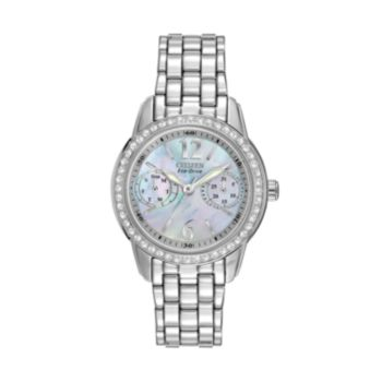 Citizen Silhouette Eco-Drive Stainless Steel Crystal and Mother-of-Pearl Watch - FD1030-56Y - Women