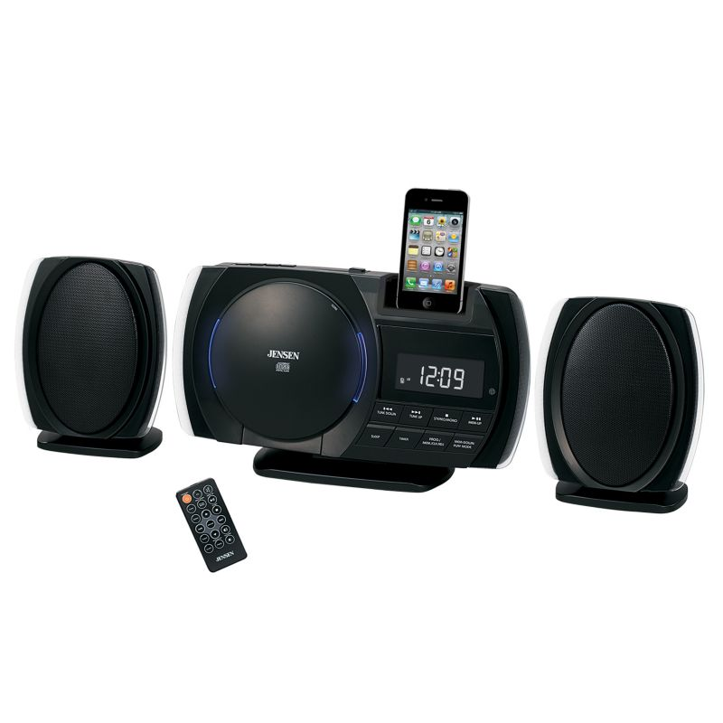 Jensen iPhone/iPod/MP3 Player 30-Pin Docking Music System withCD Player & Alarm Clock