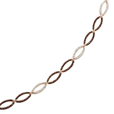 Sterling 'N' Ice 14k Rose Gold Over Silver Crystal Oval Link Bracelet - Made with Swarovski Elements