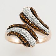 Sterling 'N' Ice 14k Rose Gold Over Silver Crystal Bypass Ring - Made with Swarovski Elements