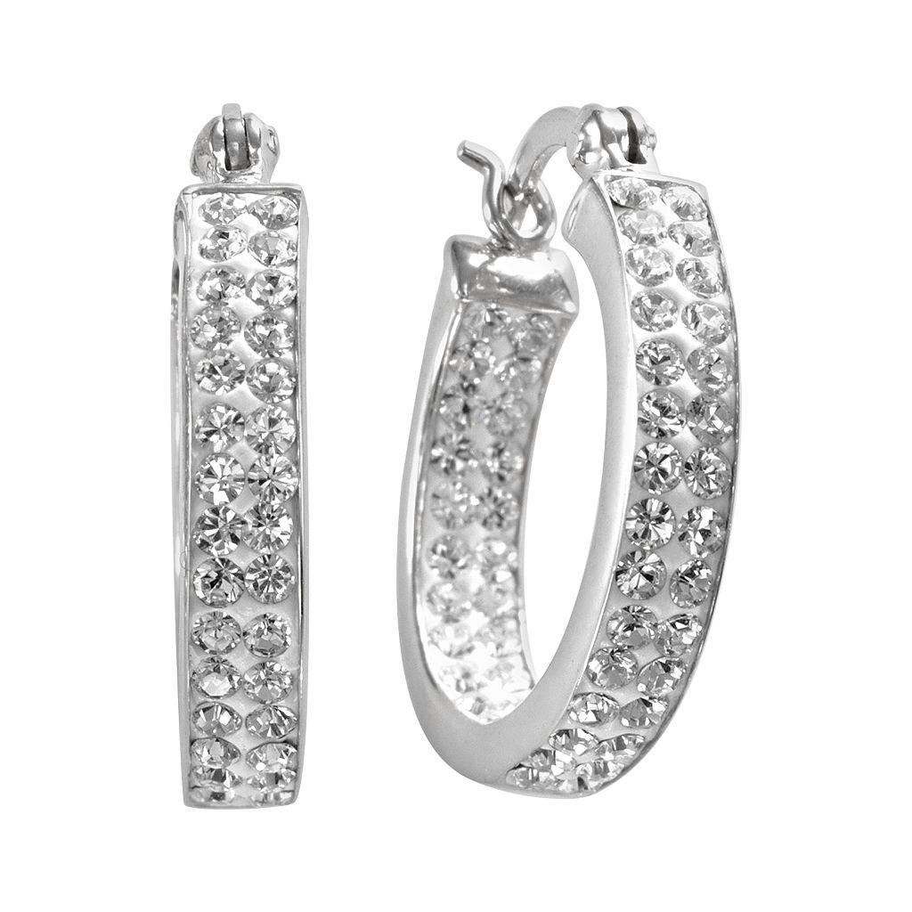 Sterling 'N' Ice Sterling Silver Crystal Hoop Earrings - Made with Swarovski Crystals