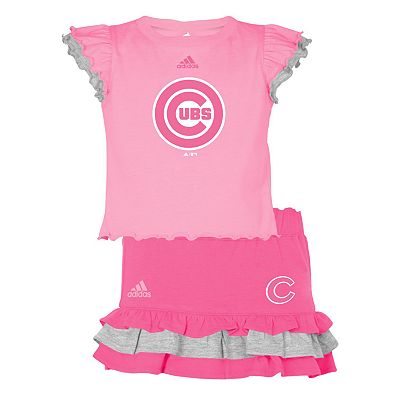adidas Chicago Cubs Mock-Layer Tee and Tiered Skirt Set - Girls' 4-6x