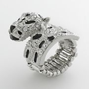 Candie's Silver Tone Simulated Crystal Leopard Stretch Ring