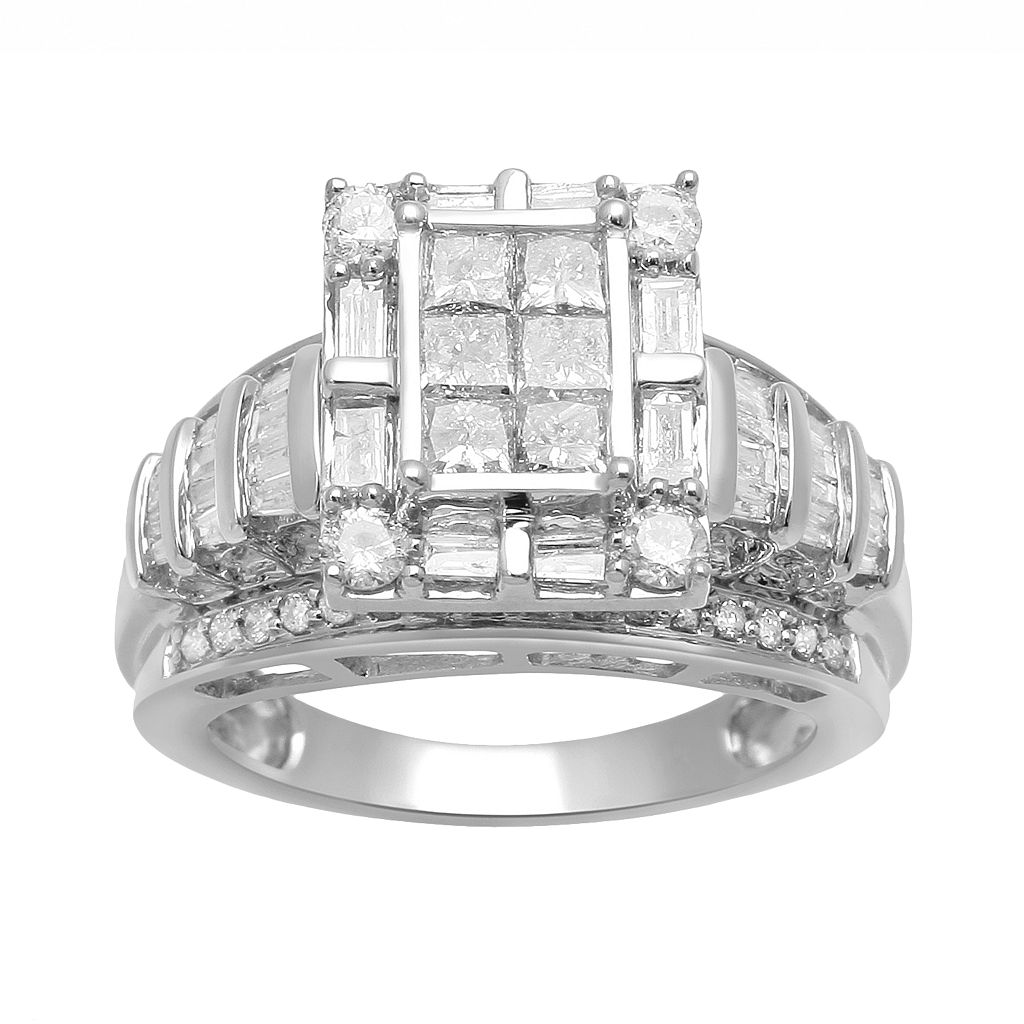 Diamond Frame Engagement Ring in 10k White Gold (1 1/2 ct. T.W.)