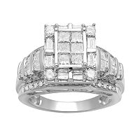 Diamond Frame Engagement Ring in 10k White Gold (1 1/2 ctT.W.)