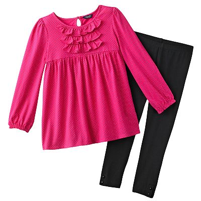 Chaps Ruffled Dress and Leggings Set - Girls 4-6x