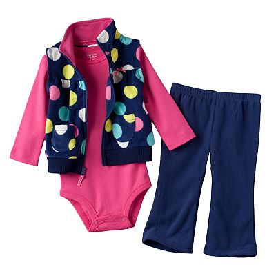 Carter's Dot Microfleece Hooded Vest Set - Baby