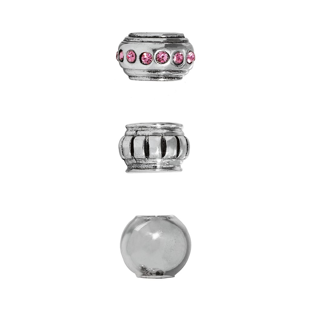 Individuality Beads Sterling Silver Crystal & Striped Stopper & Spacer Bead Set