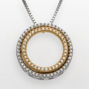 10k Gold and Sterling Silver 1/4-ct. T.W. Diamond Circle Pendant