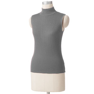 Croft and Barrow Lurex Ribbed Mockneck Sweater