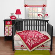 Banana Fish Fuchsia Damask 3-pc. Crib Bedding Set