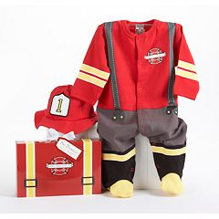Baby Aspen Big Dreamzzz 'Baby Firefighter' Bodysuit Gift Set - Baby