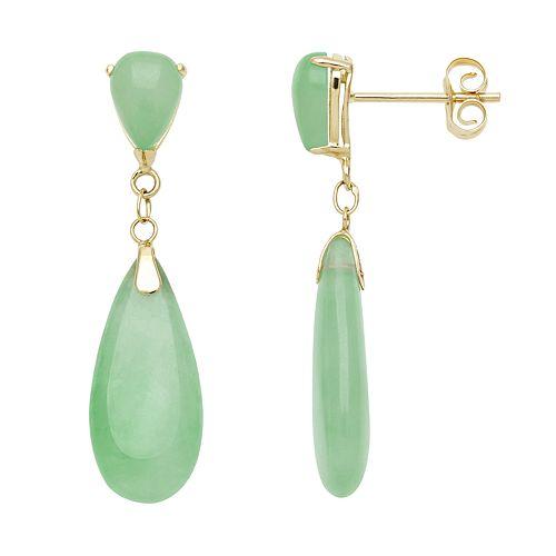 14k Gold Jade Teardrop Earrings