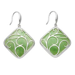Sterling Silver Jade Openwork Drop Earrings