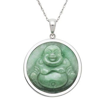 Sterling Silver Jade Buddha Pendant