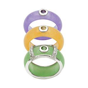 Sterling Silver Jade and Gemstone Ring Set
