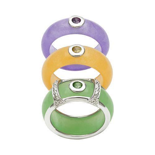 Sterling Silver Jade & Gemstone Ring Set