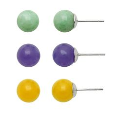 Sterling Silver Jade Ball Stud Earring Set