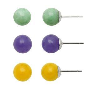 Sterling Silver Jade Ball Stud Earring Set