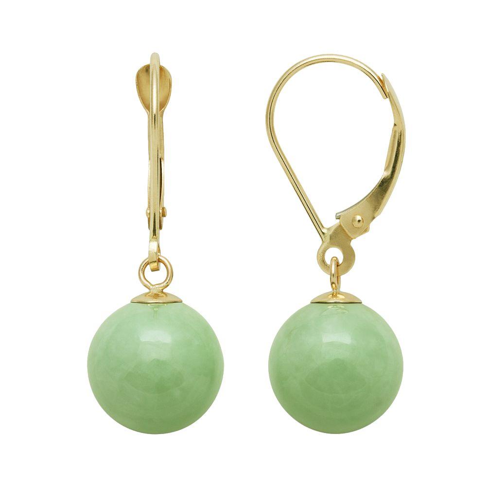14k Gold Jade Ball Drop Earrings