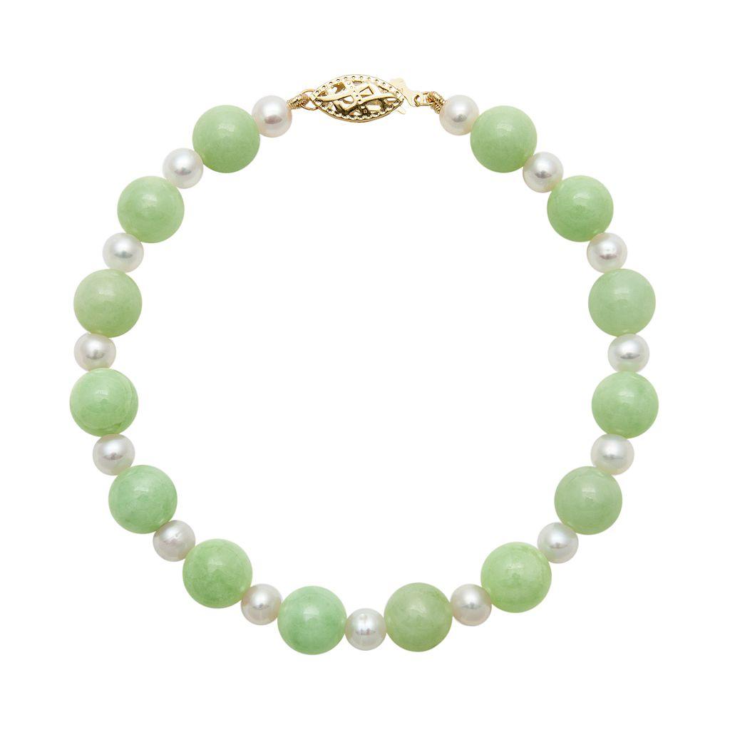 14k Gold Jade & Freshwater Cultured Pearl Bracelet