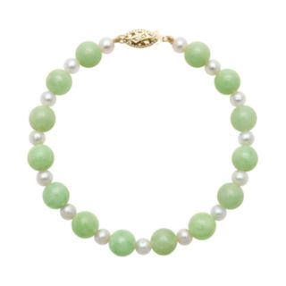 14k Gold Jade and Freshwater Cultured Pearl Bracelet