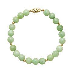 14k Gold Jade Bead Bracelet