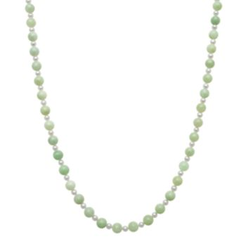 14k Gold Jade and Freshwater Cultured Pearl Necklace