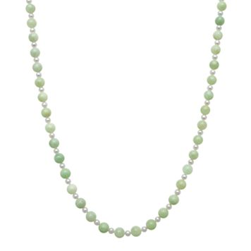 14k Gold Jade & Freshwater Cultured Pearl Necklace