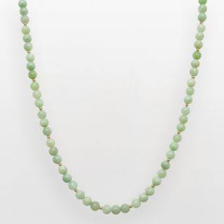 14k Gold Jade Bead Necklace